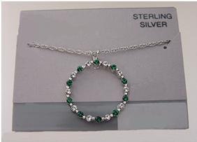 Simulated Emerald & Clear Crystal, Sterling Silver Necklace