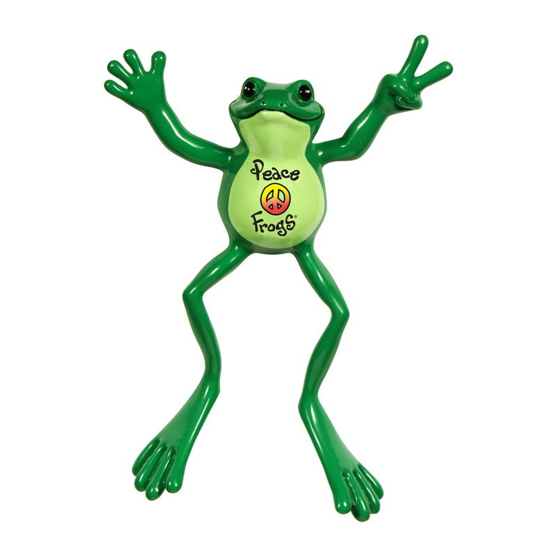 Peace Frogs Peace Sign 6 Inch Bendable Froggy Figure