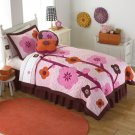 2PC Pink Flowers For Hanna Twin Quilt Bedding QS6172TW