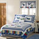 3PC Pem America Kids Airplane Fly Away Full Queen Quilt Bedding QS2733FQ