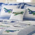 Retro Fly Away Boys Airplanes Decorative Pillow PQW2733DPL