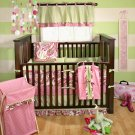 4PC My Baby Sam Paisley Splash Bedding Crib Set Pink BD151