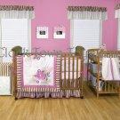 6PC Olivia Pink Floral Scroll Stripe Crib Bedding 106610CTT