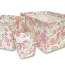 3PC Paisley PINK Fabric Storage Bins 109014