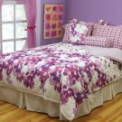 2PC Mirabella Purple Flowers Floral TWIN Comforter Set CS7346PRTW