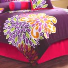 7PC RETRO Flower Power Hot Pink QUEEN Comforter Set CS7463QN7