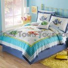 7PC Colorful Underwater BLUE Sea Queen Quilt Bedding QS3909FQ