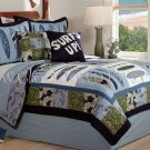 2PC Catch A Wave Surfing Theme Twin Quilt Bedding QS1932TW