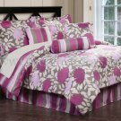 7PC Pink Blossoms & Stripe QUEEN Comforter Set CS7733QN7