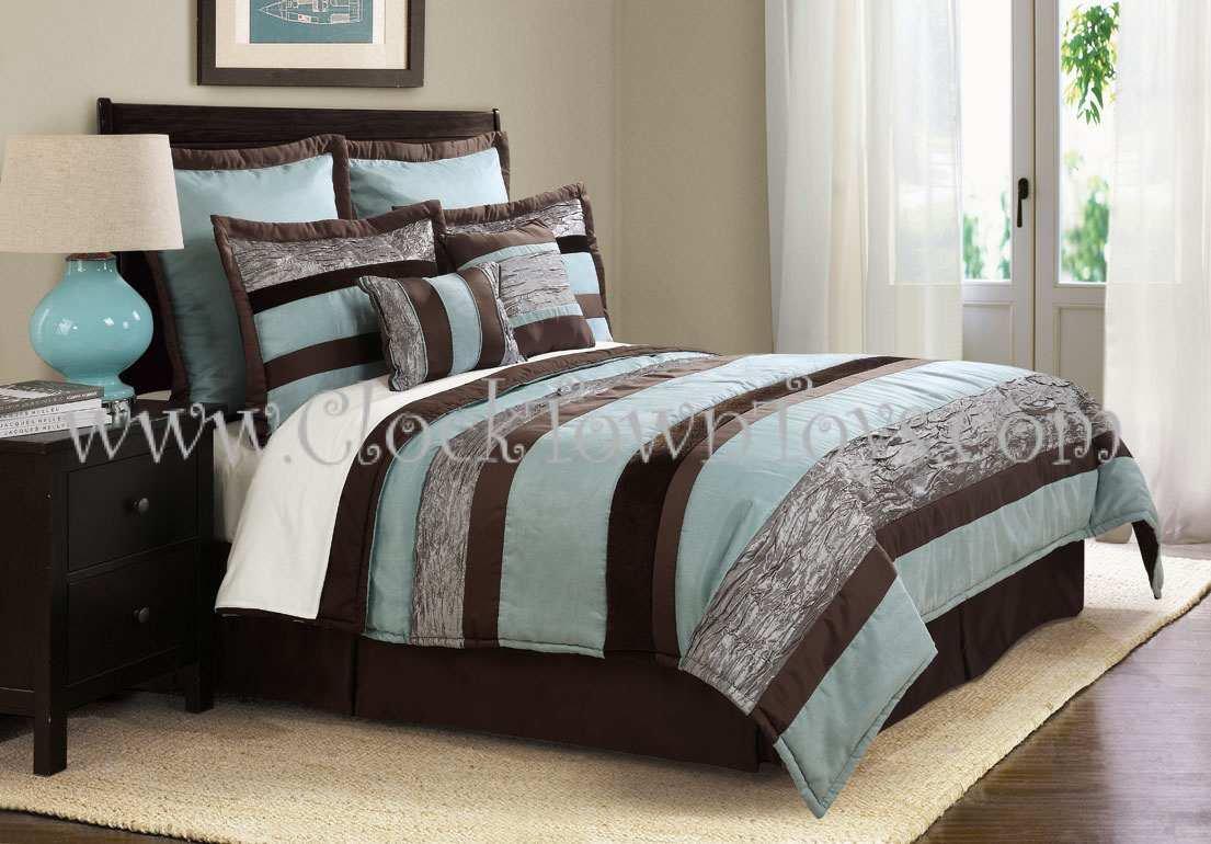8pc Soho Cool Aqua Blue Brown Queen Comforter Set Cs7927ab8