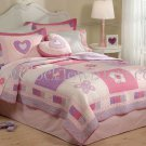3PC Spring Queen of Pink Hearts TWIN Quilt Bedding w/ Sham QS6344TW