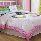 3PC PINK Peace Sign Full / Queen Comforter W/ 2 Shams by Pem America CS7441WPFQ