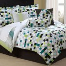 7PC Green Blue Pixel Screen QUEEN Comforter Set CS7735QN7