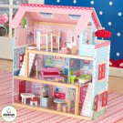 KIDKRAFT Pink Chelsea Tri-Level Pretend Play Dollhouse 65054
