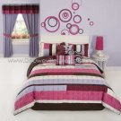 3PC Retro Choppy PINK Swirl QUEEN Comforter Set CS7835PPQN
