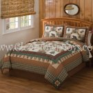 3PC Moose Head Lodge Rustic FULL/QUEEN Quilt w/ Sham QS8196FQ