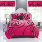 3PC Contemporary RUFFELETTA PINK Scroll FULL/QUEEN Comforter Set CS8358FQ