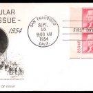 FLEETWOOD - 1954 Thomas Jefferson (#1033) FDC - PB UA