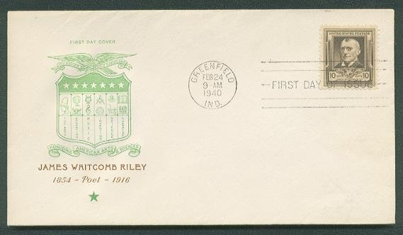 ROSS - 1940 James Whitcomb Riley (#868) Famous American FDC - UA