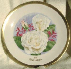 1981 American Rose Society All-American Rose Plate - WHITE LIGHTNIN'