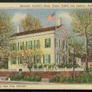 1931 Springfield, Illinois - ABRAHAM LINCOLN's Home - Linen Postcard