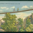 1940s Lookout Mountain, Swing-A-Long Bridge in Rock City, CHATTANOOGA, Tennessee - LINEN Postcard