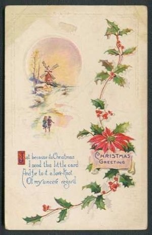 1921 CHRISTMAS Postcard - Ice skaters, windmill, holly - Used
