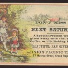 UNION PACIFIC TEA CO. Victorian Trade Card - Girls play fetch w/ dog
