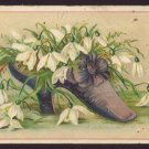 OHIO VALLEY RIO COFFEE Victorian Trade Card - Purple shoe w/ white flowers