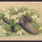 OHIO VALLEY RIO COFFEE Victorian Trade Card - Purple shoe w/ white flowers
