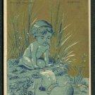 DR. MORSE'S COMPOUND SYRUP Victorian Trade Card - Boy w/ Wooden Shoe Sailboat