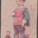 KINSMAN & MANN Fruit and Confectionery Store Victorian Trade Card - Boy & Dog, Long Peppermint Stick