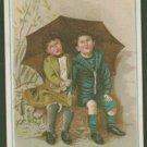 SARICA COFFEE Victorian Trade Card - Two Children Sitting Under an Umbrella