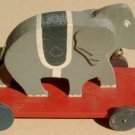 1940s/1950s Handcrafted Wooden Elephant Pull Toy