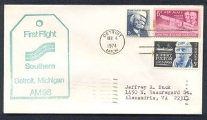 1974 First Flight Covers (2) - DETROIT-NASHVILLE (AM-98)