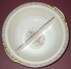 Vintage NORITAKE China - Round Divided Vegetable Bowl - SWANSEA Pattern (#685)