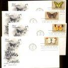 ART CRAFT - 1977 Butterflies (#1712-5) Set of 4 FDCs - UA