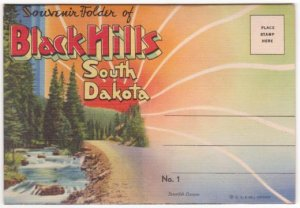 1934 BLACK HILLS, South Dakota - Full Color Illustrated Souvenir Folder/Mailer