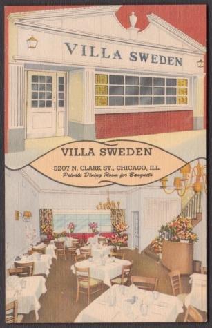 1951 VILLA SWEDEN Restaurant, Chicago, Illinois - Unused LINEN Postcard
