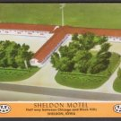1950s SHELDON MOTEL, Sheldon, Iowa - Unused Full-Color Postcard