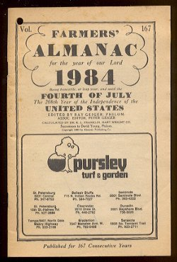 1984 Farmers&#039; Almanac, Vol. 167 - Pursley Turf &amp; Garden