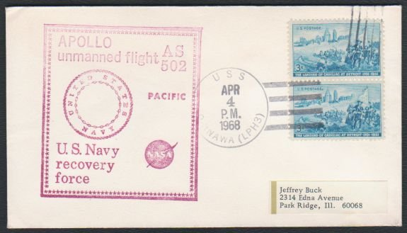 1968 - APOLLO 6 Test Flight - AS 502 Recovery Force Cover - U.S.S. Okinawa (LPH3)