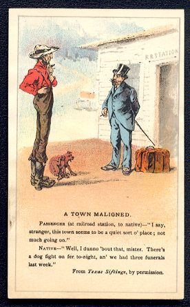 """Victorian Trade Card - Arbuckle Brothers Coffee Company - """"A TOWN MALIGNED"""" (#5)"""