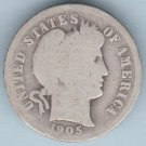1905 Barber Dime (U.S. Coin - 90% Silver) - Circulated