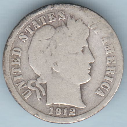 1912-D Barber Dime (U.S. Coin - 90% Silver) - Circulated