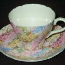 Vintage SHELLEY Fine Bone China - Demitasse Cup and Saucer Set - ROCK GARDEN (#13454)
