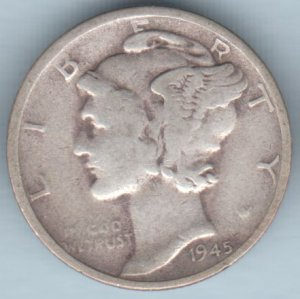 1945-S Mercury Dime (U.S. Coin - 90% Silver) - Circulated
