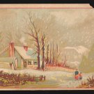 OHIO VALLEY RIO COFFEE Victorian Trade Card - Winter scene w/ snow falling
