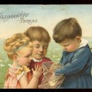 1888 WILLIMANTIC THREAD Victorian Trade Card - Three children with butterfly net