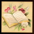 1884 Victorian Bible Verse Card by PRANG - pink, red, and white flowers